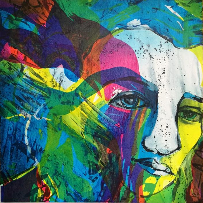 Facing the Wind: Abril, Acrylic On Canvas 95 x 95 x 2 cm