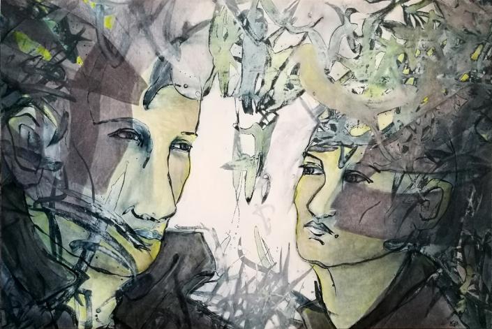 Facing the Wind: Alejandro & Mercedes, Acrylic On Canvas, 94 x 142 x 2 cm