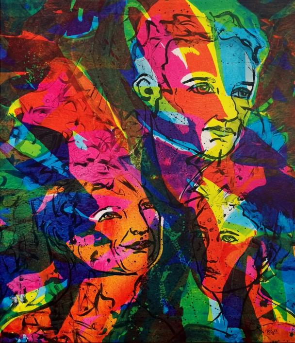 Facing the Wind: Alica, Margret & Paul, Acrylic On Canvas 104 x 88 x 2 cm