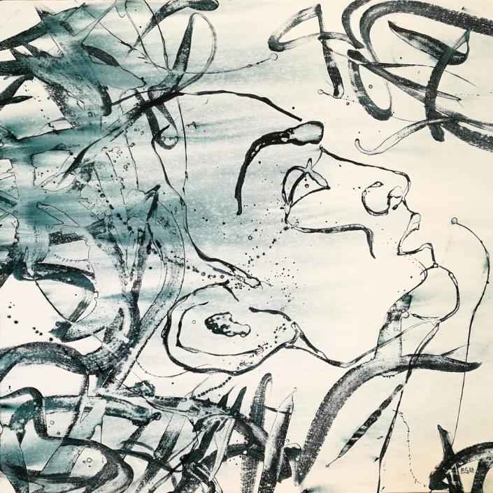 Facing the Wind: Amadea, Acrylic On Canvas 95 x 95 x 2 cm