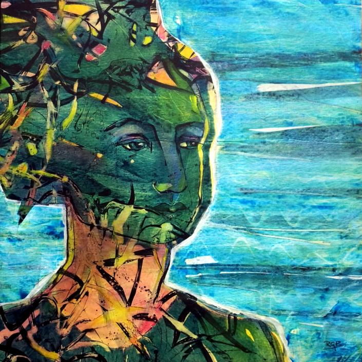 Facing the Wind: Amelie, Acrylic On Canvas 94 x 94 x 2 cm
