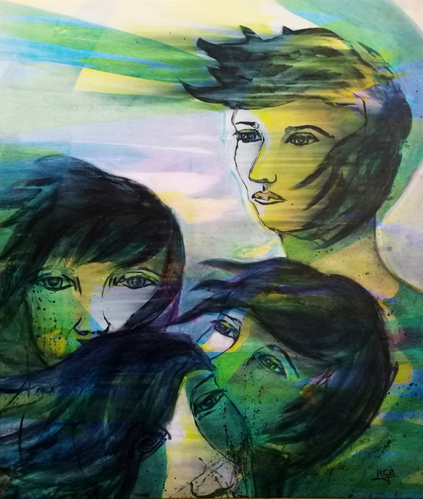 Facing the Wind: Four Sisters, Acrylic On Canvas 102 x 87 x 2 cm