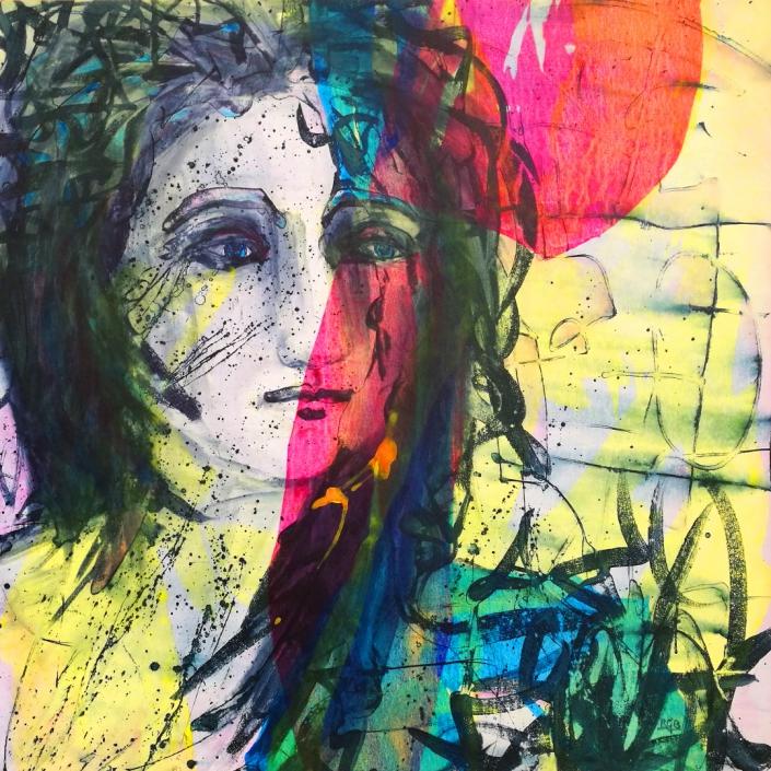 Facing the Wind: Gitty, Acrylic On Canvas 94 x 94 x 2 cm