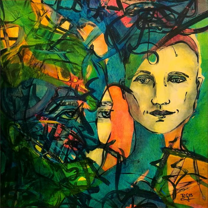 Facing the Wind: Heda & Max, Acrylic On Canvas 94 x 94 x 2 cm