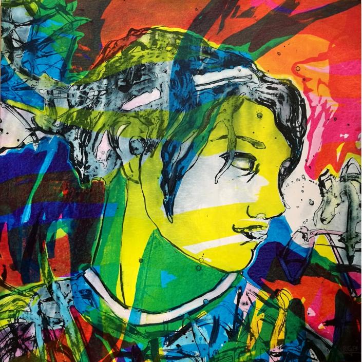 Facing the Wind: Jerry, Acrylic On Canvas 95 x 95 x 2 cm