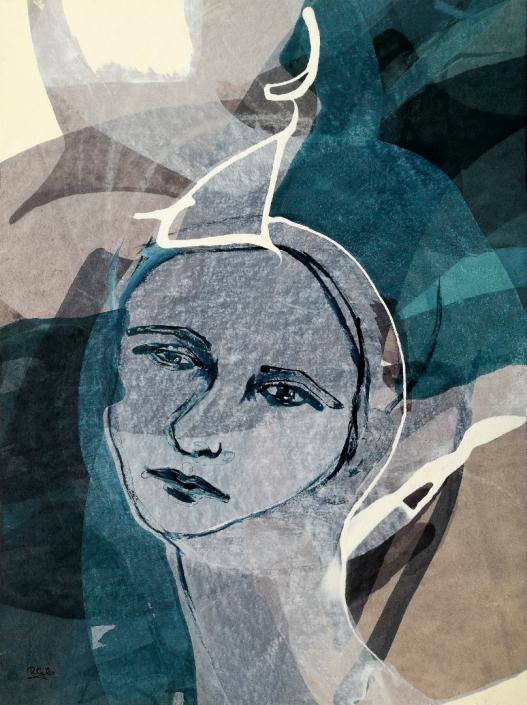 Facing the Wind: Lola, Romana G. Brunnauer , Acrylic on Paper 40 x 29.7 cm