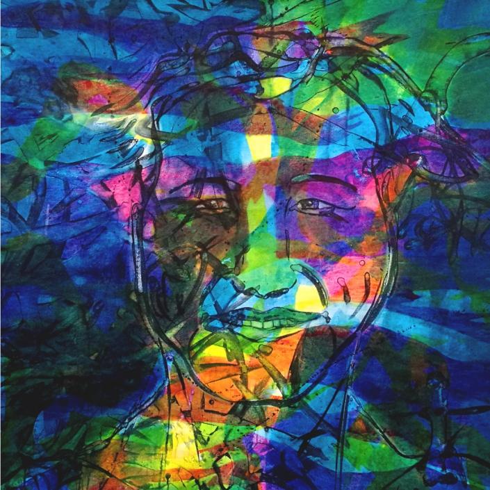 Facing the Wind: Maik, Acrylic on Canvas, 95 x 95 x 2 cm