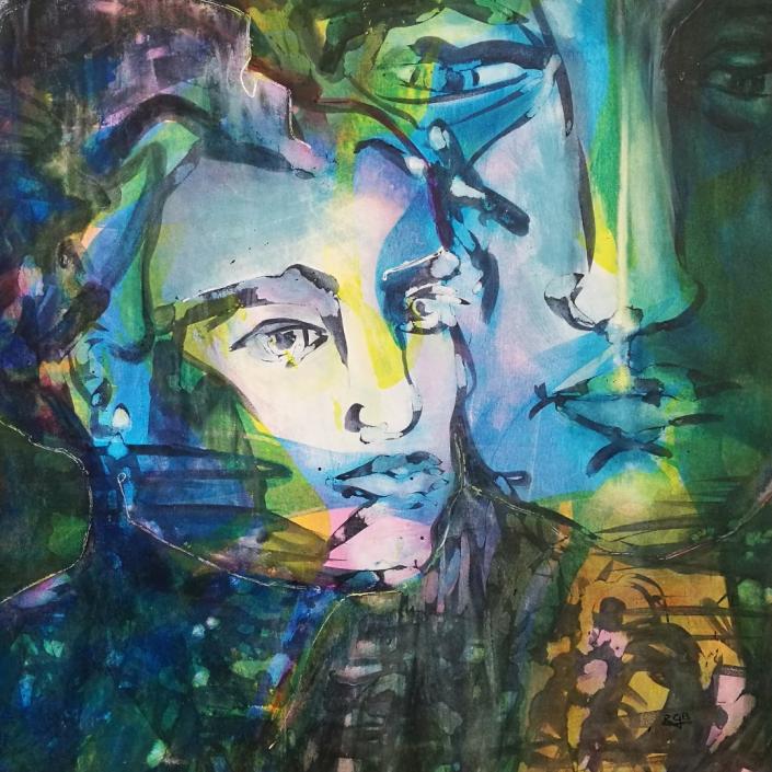Facing the Wind: Mary & John, Acrylic On Canvas 94 x 94 x 2 cm