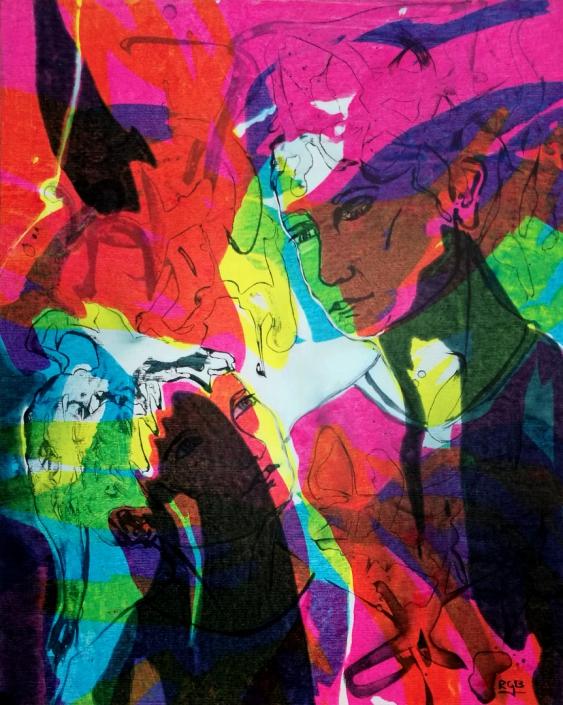 Facing the Wind: Nuria & Keren, Acrylic On Canvas 70 x 50 x 1 cm