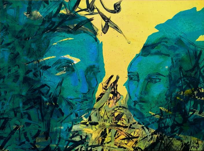 Facing the Wind: Patricia & Alberto, Acrylic On Canvas 69 x 94 x 2 cm