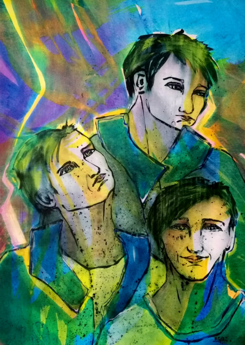 Facing the Wind: Three Brothers, Acrylic On Canvas 134 x 94 x 2 cm