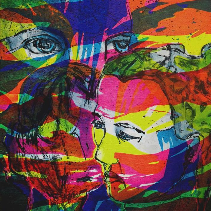 Facing the Wind: Toni, Hermi & little Toni, Acrylic On Canvas 95 x 95 x 2 cm